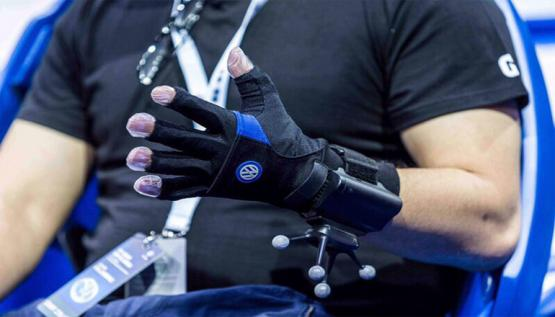 A virtual reality glove by Noitom is shown at the Shanghai International Automobile Industry Exhibition.