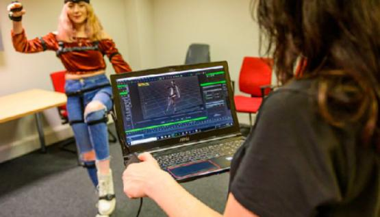 Young people work with motion capture technology by Noitom at Wheelworks digital academy in Belfast, Ireland.